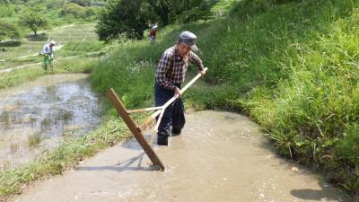 トンボで草を埋める副理事長宇野さん